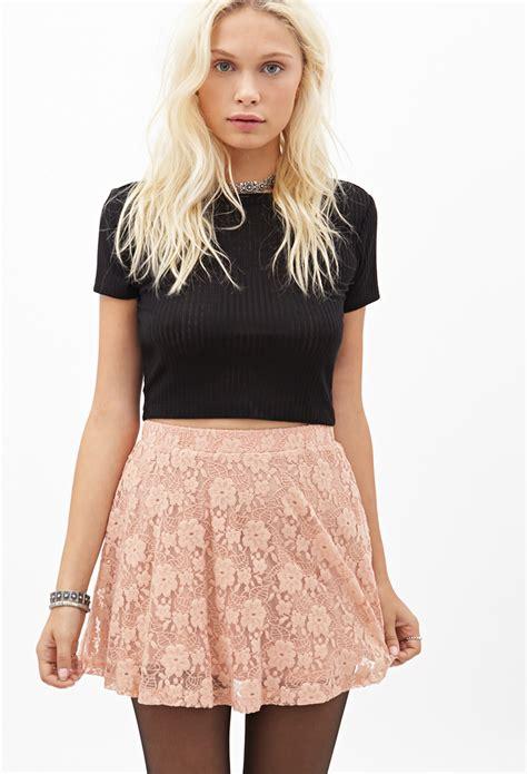 Forever 21 Flower Skirt forever 21 floral lace skater skirt in pink lyst