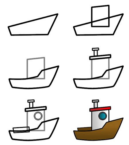 boat cartoon step by step drawing a cartoon boat