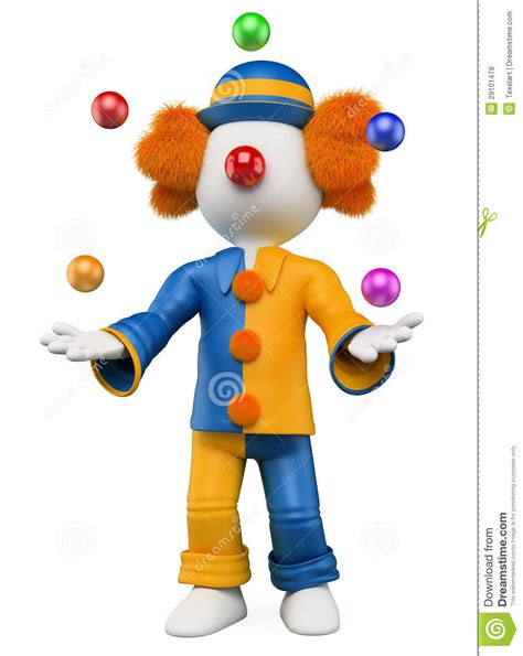 juggler 3d pattern 3d white people clown juggler stock illustration image