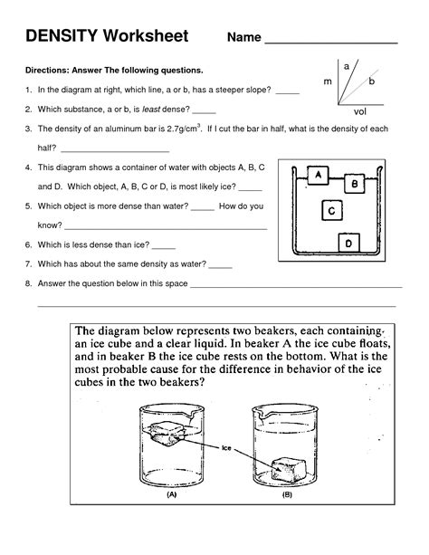 Density Worksheet by 10 Best Images Of Density Practice Worksheet Middle School