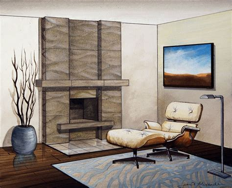 Fireplace: Cool Eames Chair And Ottoman Also Modern