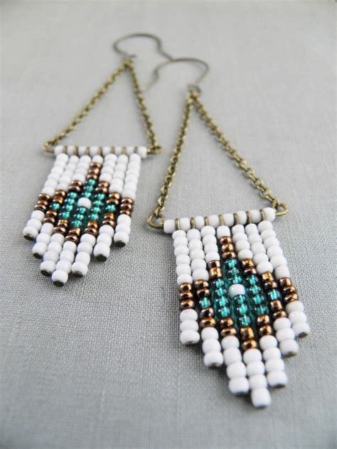 beaded earrings beaded chevron earrings american beaded earrings