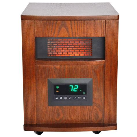 outdoor heat ls lifesmart 1500 watt 6 element infrared room heater with oak cabinet and remote browns tans