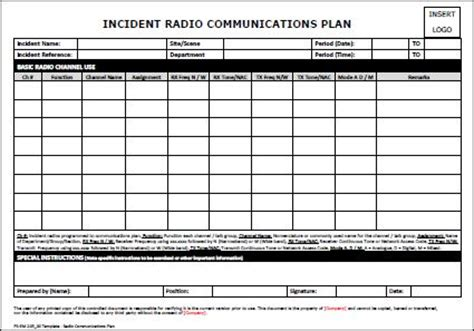 Template Radio Communications Plan Allsafety Incident Management Communication Template