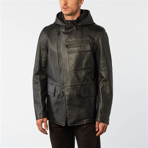 Design Jacket Modern | peacoat leather jacket black black euro 48