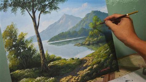 acrylic paint near me acrylic landscape painting lesson morning in lake by