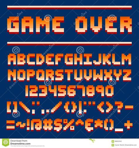 font design game pixel art style font vector vector illustration