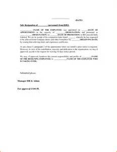 One Month Notice Template by 5 Resignation Letter Sle One Month Notice Expense Report