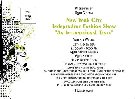 Invitation Sle To Fair Image Collections Invitation Sle And Invitation Design Fashion Show Ticket Template Free