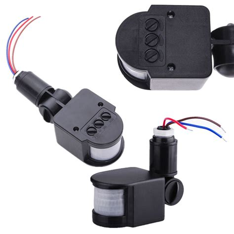 Motion Sensor Light Switch Outdoor Abs Environmental Adjustable Led Outdoor 220v Infrared Pir Motion Sensor Detector Wall Light