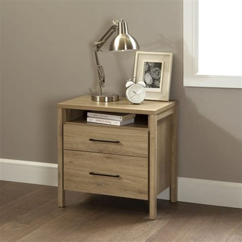 gravity two drawer nightstand south shore gravity 2 drawer wood nightstand in rustic oak