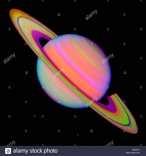false color image false color image of saturn by voyager 2 stock photo