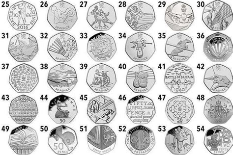 printable quarter collection map rare 50p coins the most valuable and scarce old 50p coins