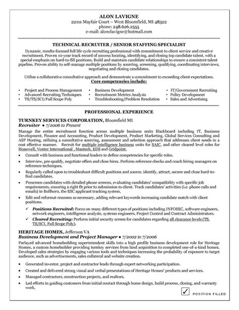 recruiter resume template technical recruiter resume exle resume exles