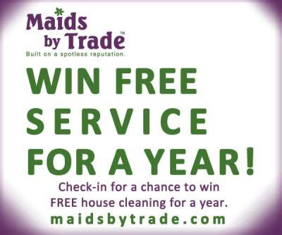 Free House Sweepstakes - free house cleaning for a year giveaway maids by trade