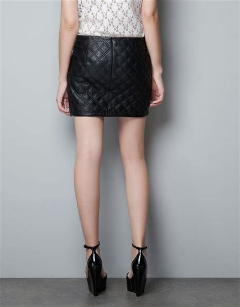 zara quilted leather skirt in black lyst