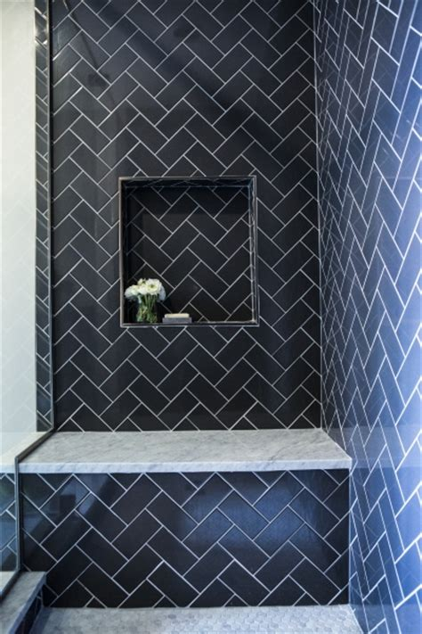 navy bathroom tiles shower with navy subway herringbone tiles contemporary