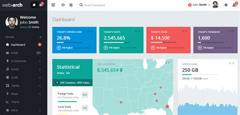 webarch responsive admin dashboard template