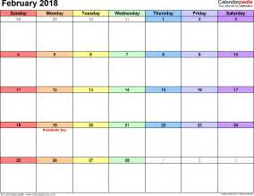 Calendar 2018 February February 2018 Calendars For Word Excel Pdf