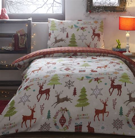 boys girls kids father christmas tree santa duvet quilt