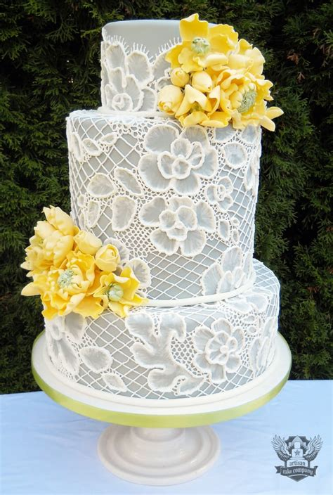 Wedding Cake Companies Near Me by Grey And Yellow Lace Wedding Cake Featured In Portland
