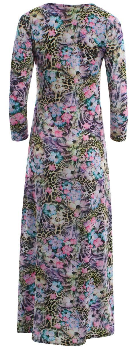 Dress Wanita Maxi Flare Combi new plus size 3 4 sleeve flared maxi dress 4 22