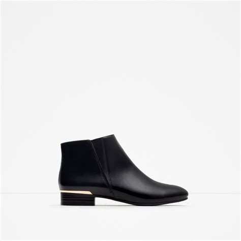 zara flat ankle boots with metal detail flat ankle boots