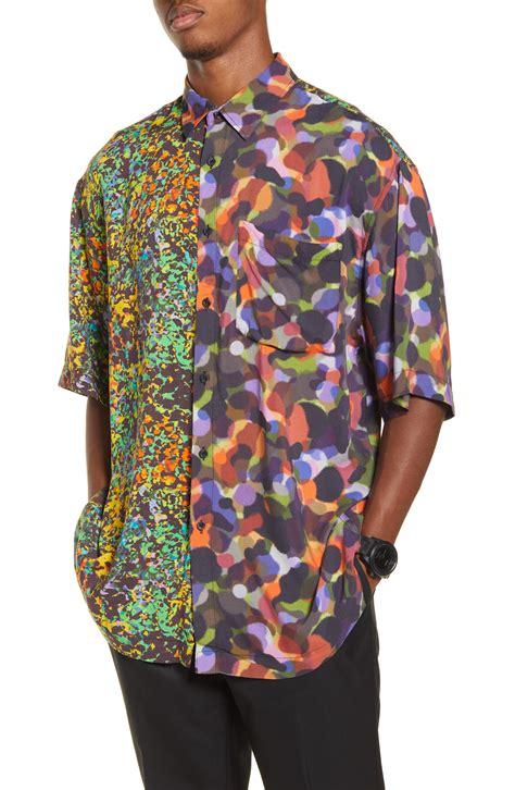 mens topman oversize   neon print short sleeve