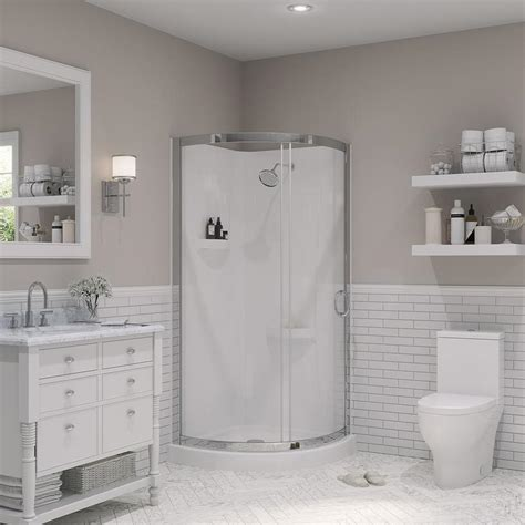 Lowes Bathroom Shower Kits Shop Ove Decors Chrome Wall Acrylic Floor 4 Corner Shower Kit Actual 76 In