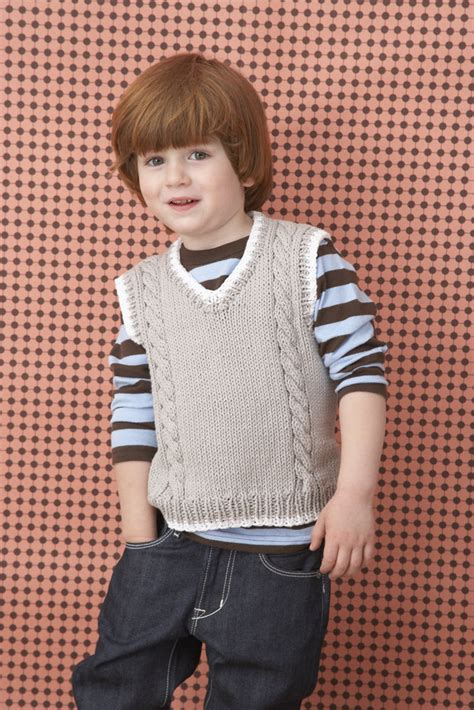 knitting patterns 2 year old boy cable vest in lion brand cotton ease 70202a knitting