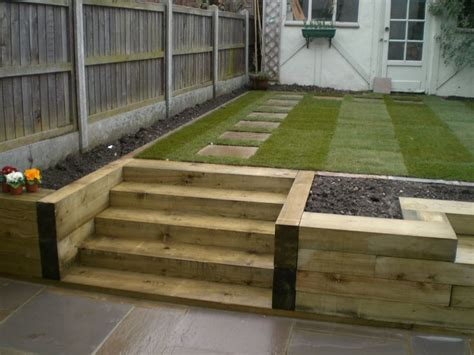 Bench Steps Raised Bed Made Of Railway Sleepers Fairly Railway Sleeper Garden Ideas