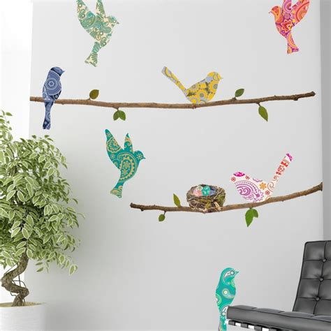 paisley wall stickers wall decal paisley birds branches contemporary