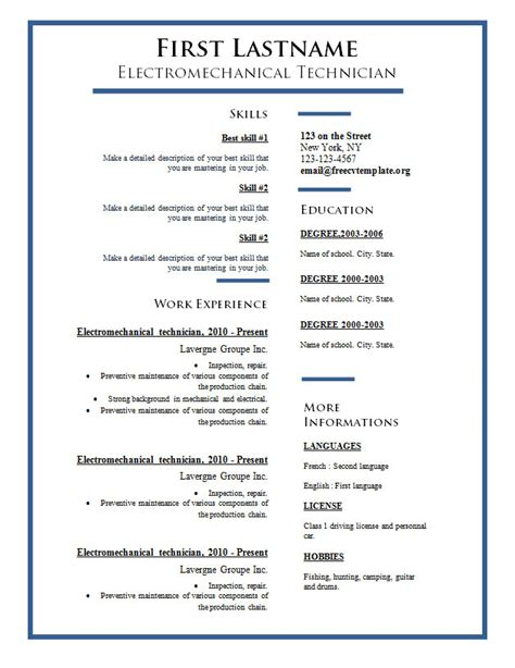 Resume Templates Word Where Free Cv Templates 275 To 281 Free Cv Template Dot Org