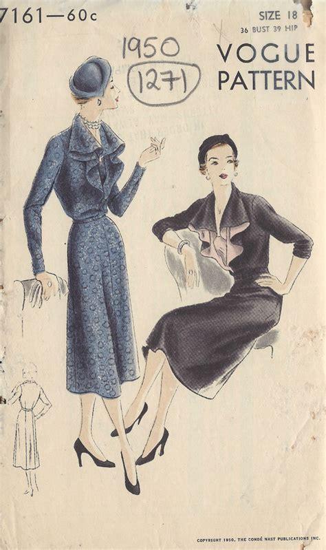 vogue pattern history 1950 vintage vogue sewing pattern b36 dress 1271 ebay