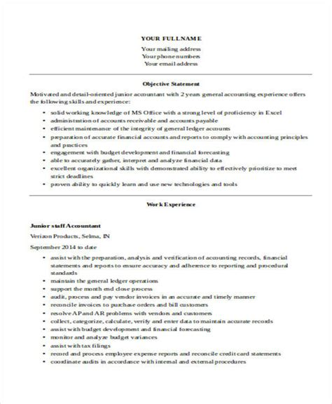 Resume Sles Junior Accountant 31 Free Accountant Resumes