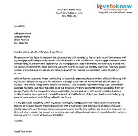 Appeal Letter Mortgage Modification Sle Hardship Letter For A Loan Modification Lovetoknow