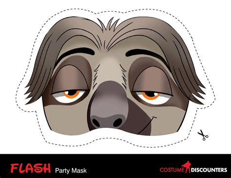 sloth mask template zootopia mardi gras masks costume discounters