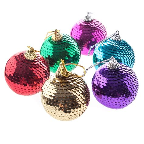 gisela graham christmas pack of 6 sequin bauble