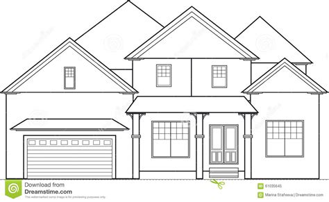 drawing of a house with garage big house stock vector image 61035645