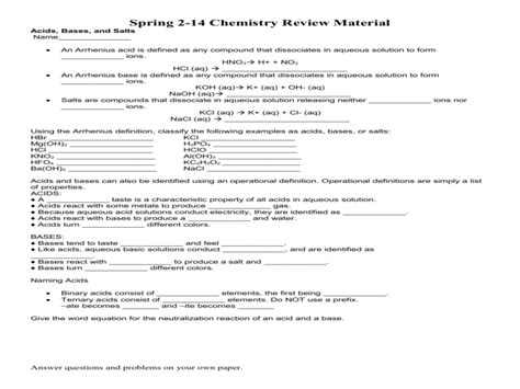 Acids Bases And Salts Worksheet Answers by Acids Bases And Salts Worksheet Answers Free Printable