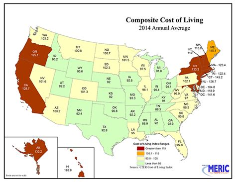 cheapest cost of living states forced unionism states were on average 22 more costly to