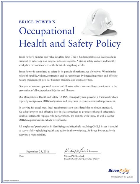 occupational health and safety policy 171 bruce power