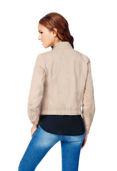 Bomber Riff Kanvas Fit L canvas bomber jacket in taupe get great deals at justfab