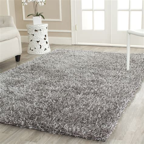 silver gray area rugs safavieh tufted silken grey shag area rugs sg531