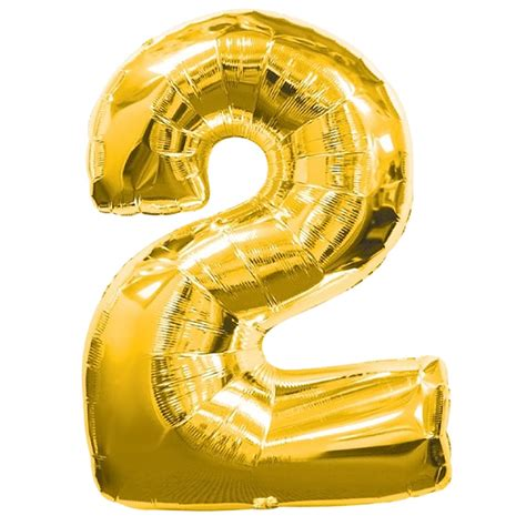 Number Foil Balloon number 2 gold foil balloon 2nd birthday