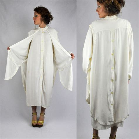 vintage 80s white maxi tunic dress with vest attached