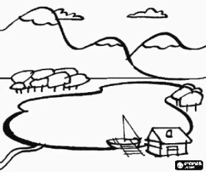 Water Landscapes Coloring Pages Printable Games 2 Lake Coloring Page
