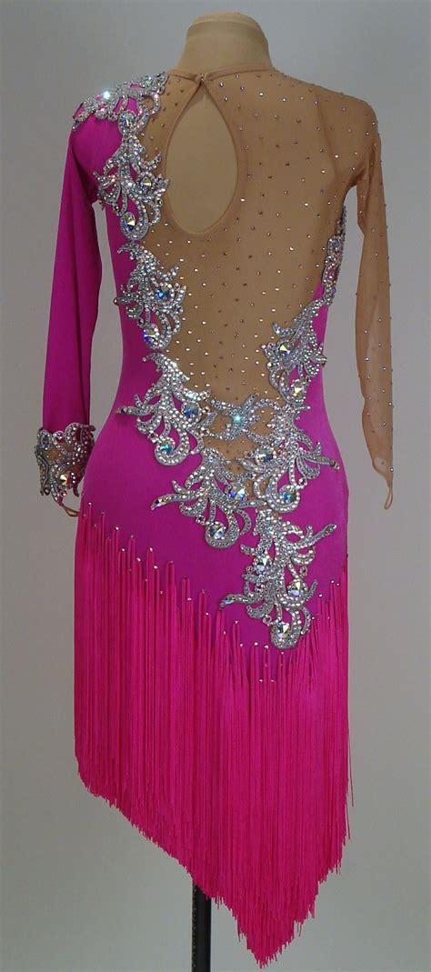 Salsa Dress Pink electric pink velvet pink fringe and ab crystals back