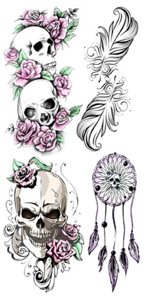feminine skulls tattooforaweek temporary tattoos largest