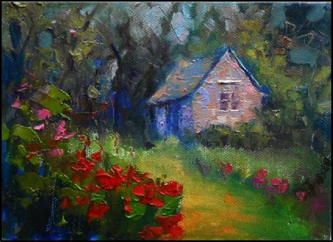 Cottage Garden Paintings by Paint Quot Cottage Garden Quot 5x7 On Wrapped Canvas